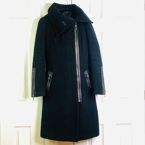 MACKAGE CASHMERE LEATHER TRIM TRENCH COAT